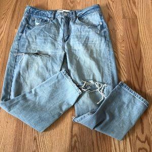 Garage Light Wash Distressed Mom Jeans